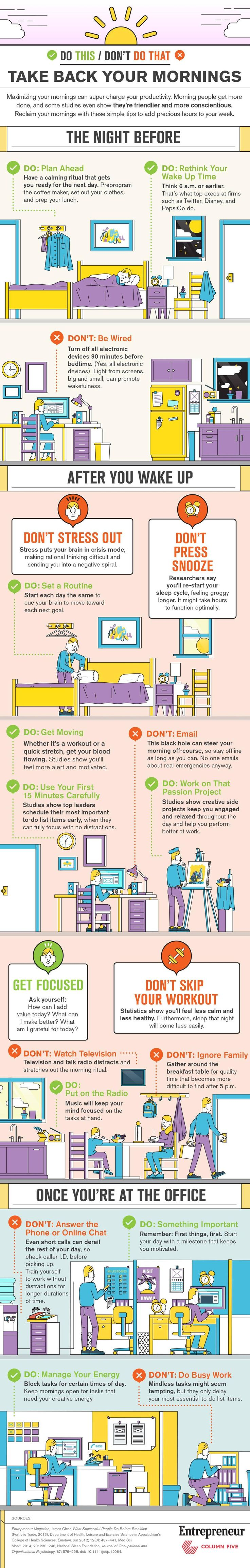 Take back your Mornings Infographic - From the night before till you walk out the door, there are tips to help you get up and get going.