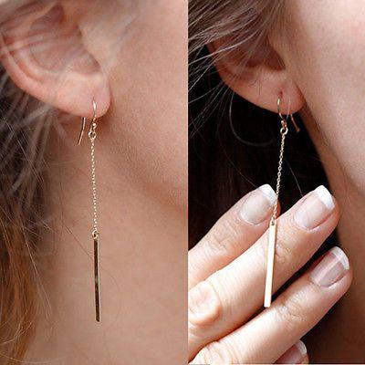 Fashion Jewelry Womens Gold Plated Long Dangle Drop Chain Hook Earrings Ear Stud