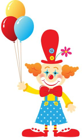 Cute Cliparts ❤ Circo - Minus Clown with lots of balloons