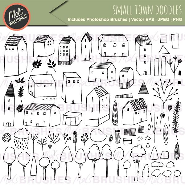 Hand Drawn Clip Art Illustrations – Small Town Doodles + FREE DIGI STAMP