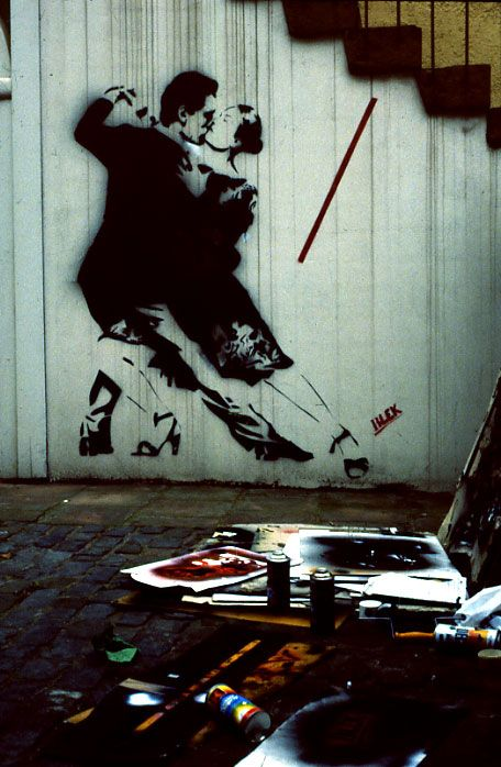 "Blek Le Rat, ""last tango"" made in the year of 1986. There was more than one stencil used to make the image."