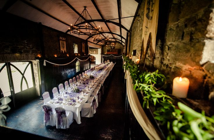 Long banqueting table at Kinnitty Castle - Love this set up!