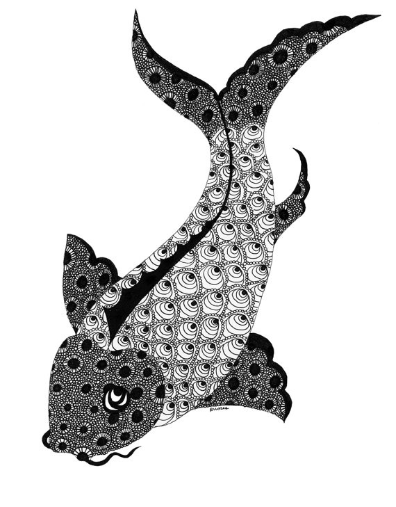 Koi fish black and white art print painting pinterest for Black and white koi fish