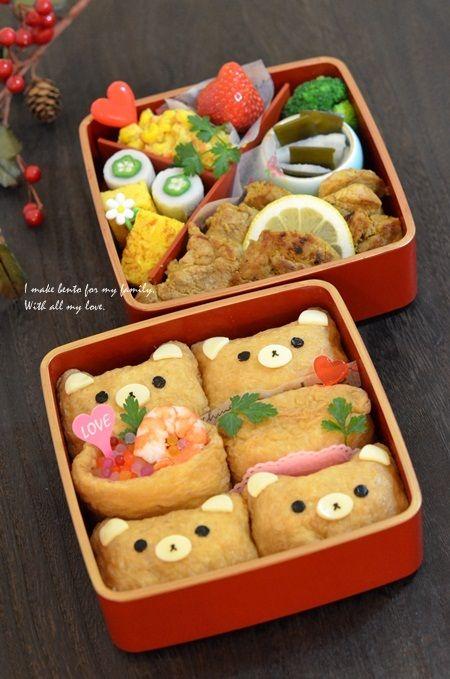 日本人のごはん/お弁当 Japanese meals/Bento 熊のおいなりさん弁当 Bento