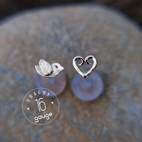 Tiny bird TRAGUS SET Sterling silver Labret /16 gauge/ BioFlex/tragus heart/ tragus earring/cartilage earring on Etsy, US$28,00