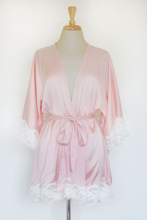 Momoko Lace Trim Silk Robes in Peach Pink by SpurTheMoment on Etsy