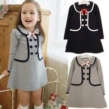 2015 NEW Kids&girls dress children Cute Bowknot Faux Two Piece One-piece Girl's Party Dresses long-sleeve dress for girl(China (Mainland))