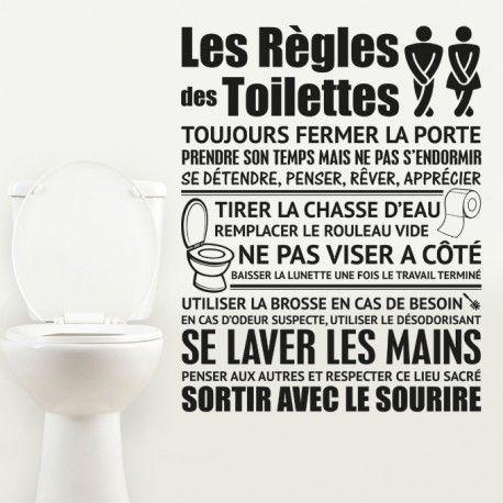 Stickers muraux règles et règlement pour décorer son intérieur. Sticker déco les règles des toilettes et wc à personnaliser. Couleur et taille aux choix.