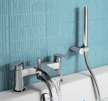Nelas Bath Shower Mixer Tap with Hand Held Shower Head [PT-TB144] - £96.79 : Platinum Taps & Bathrooms