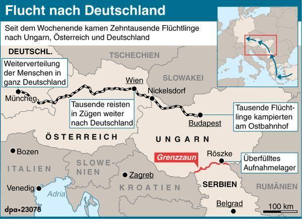 @dpa-Karte zur Balkan-Route. Vorallem #Flüchtlinge aus #Syrien, dem #Irak und #Afghanistan wählen diesen Strecke.