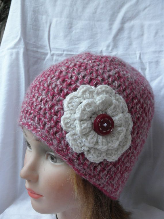 Hot Pink and white hatcappink beaniewith white by megghyshop