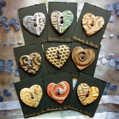 Big heart ceramic buttons