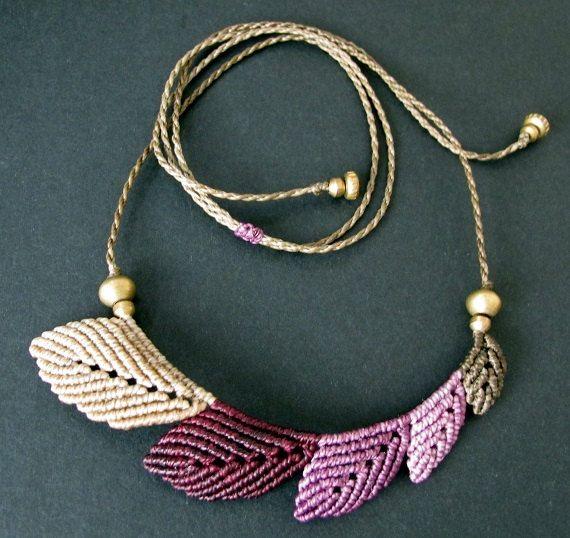 macrame leaf necklace - boho leaves - bohemian - micro macrame leaves necklace…