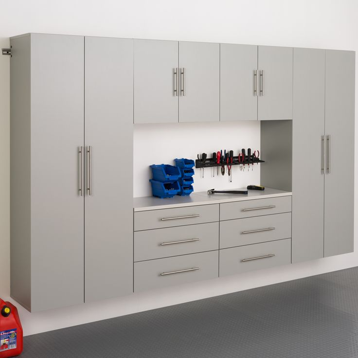 Garage Cabinet Systems - build your own garage organization system with components from this system. Sturdy, modern and utilitarian, these will help you build the dream garage you always wanted.
