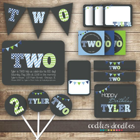 2nd Birthday PARTY PACKAGE / Second Birthday / Boy's 2nd Birthday Party Kit - Printable on Etsy, $35.00