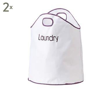 Set van 2 waszakken Landon, wit/paars, H 68 cm