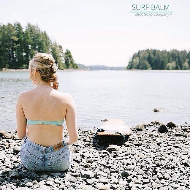 """Back in Stock! """"Surf - Beach Balm""""  Perfect for Your Skin & Hair  After a Day at the Beach or In the Surf  + it smells like Summer !  Yummy Coconut & Cooling Mint. The Beautiful @kariscameron  www.tofinosoapcompany.com -------------------------------------