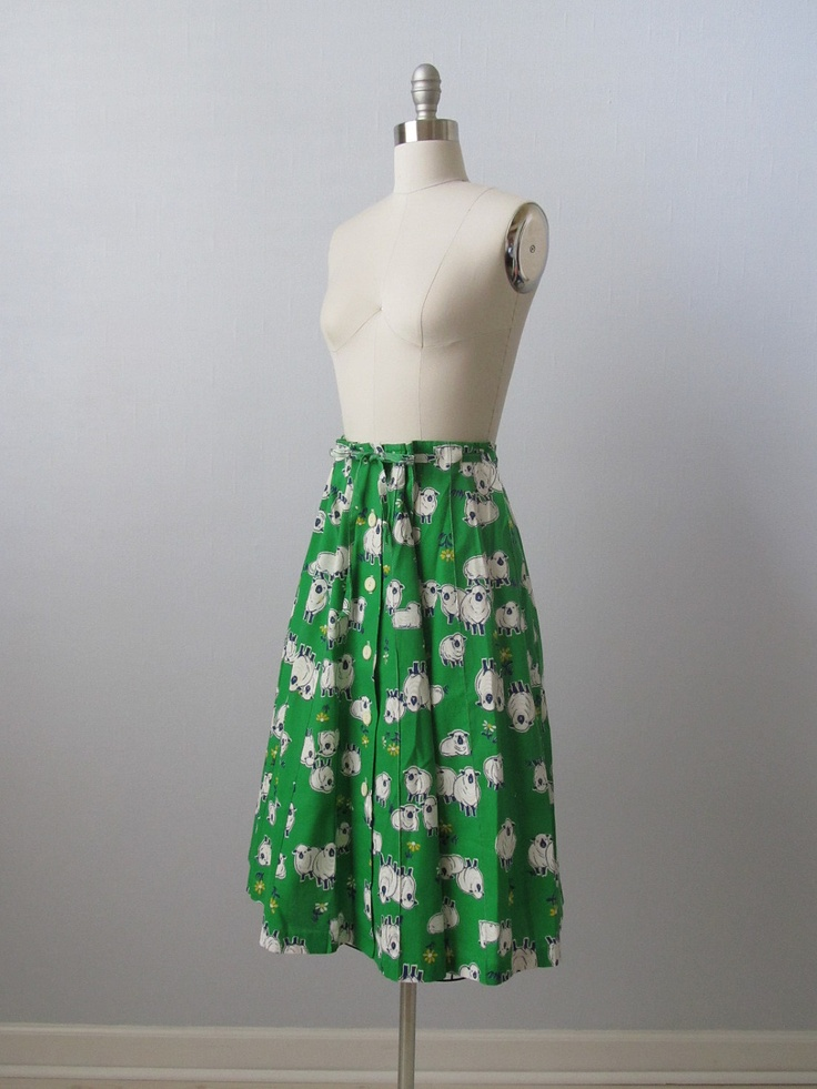 vintage Wrap Skirt / 1980s Skirt / Pasture Prep. $30.00, via Etsy.