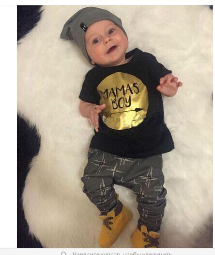 2016 New summer bébé garçon vêtements set coton lettres de mode imprimé T   shirt + pantalons 2 pcs vêtements bébé nouveau   né vêtements ensemble dans Tenues de Produits pour bébés sur AliExpress.com | Alibaba Group