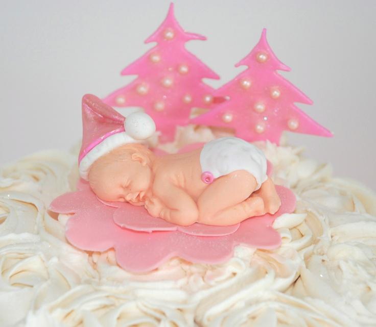 Sugar Santa baby Cake topper for a baby shower cake.