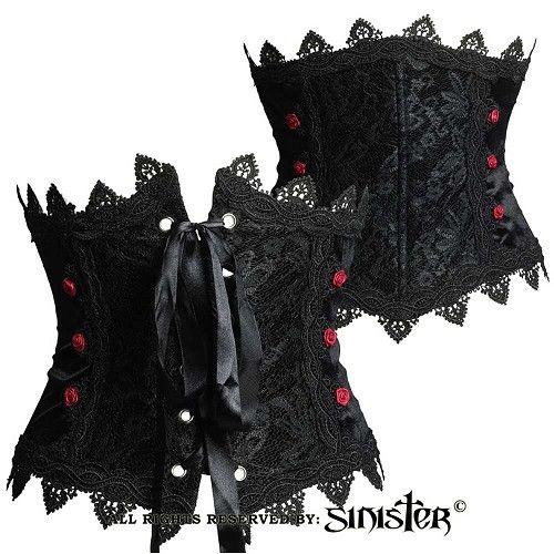 Launa fluwelen underbust korset riem met bordeaux satijnen rozen zwart - Victoriaans Gothic Halloween