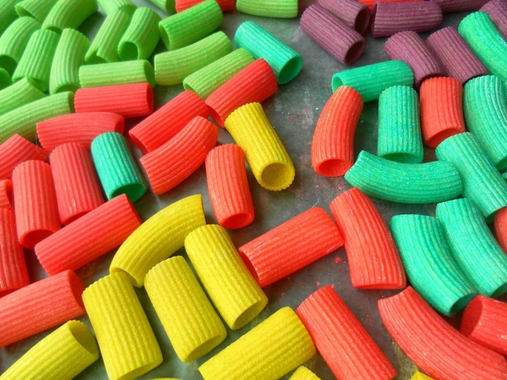 Color pasta for crafts!  *Gallon freezer bags   *Cookie sheet   *Wax paper   *1 cup of white pasta   *1 tablespoon of rubbing alcohol   *1 packet of Kool-Aid   *Pour the pasta, Kool-Aid packet, rubbing alcohol into the freezer bag .   *Seal the bag and shake it up.   *Let sit for 20 to 30 min   *Line your cookie sheet with wax paper.   *Pour the pasta onto the cookie sheet and spread it out into a single layer.   *Let your pasta dry over night