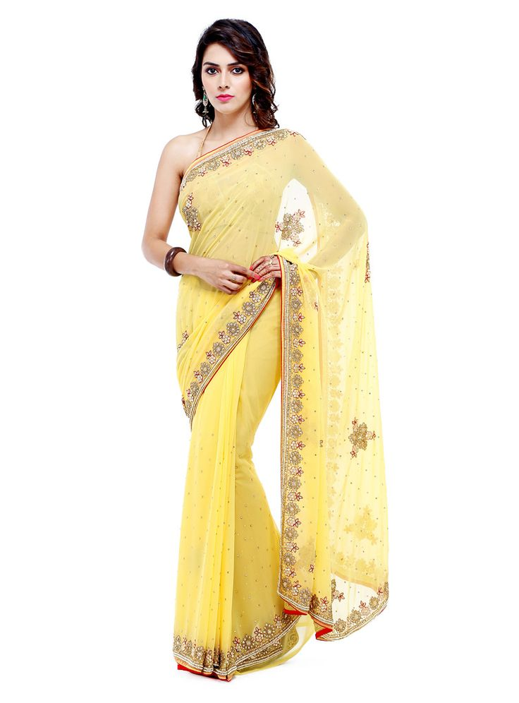 Yellow Georgette Saree With Blouse 88864