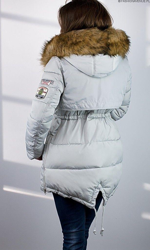Nowy Kolor - SZARY Kurtka damska zimowa parka naszywki jenot militarna asymetryczna szara model #111 www.fashionavenue.pl