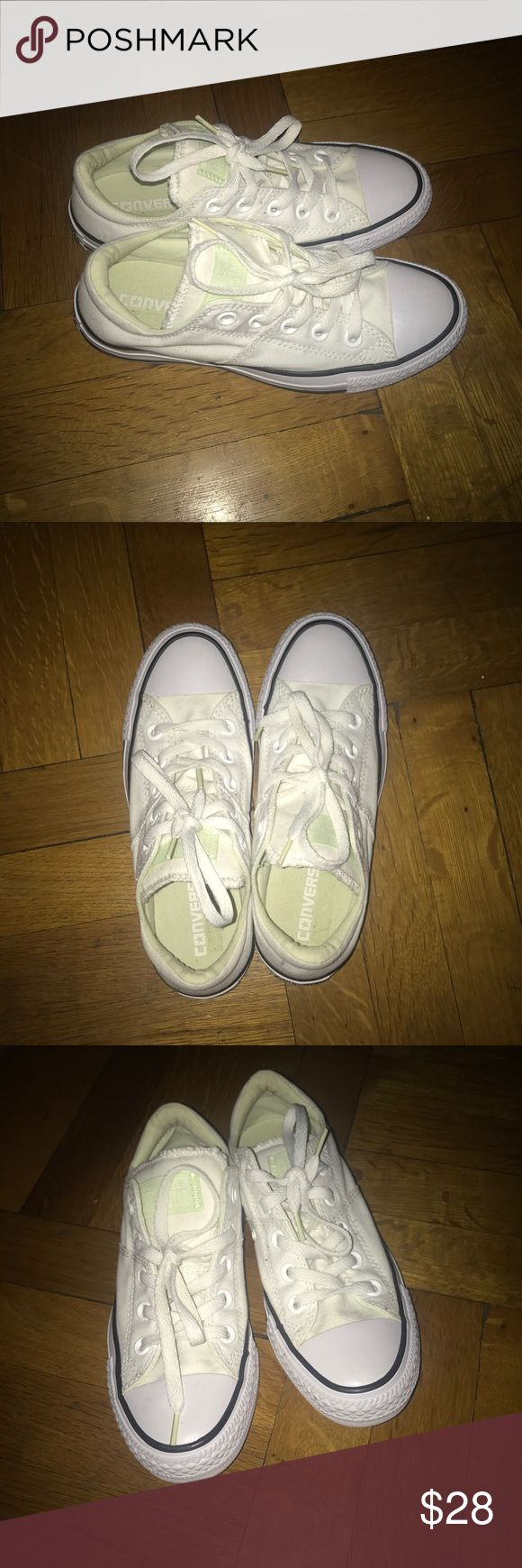 FINAL SALE🎉 LOW TOP WHITE AND MINT CONVERSE SIZE IS 6 IN WOMENS = 4.5 in KIDS Trendy white converse but with a suttle, cute and unique touch of mint!  ONLY WORN ONCE ✅ Great Condition! FEEL FREE TO MAKE REASONABLE OFFERS! Converse Shoes