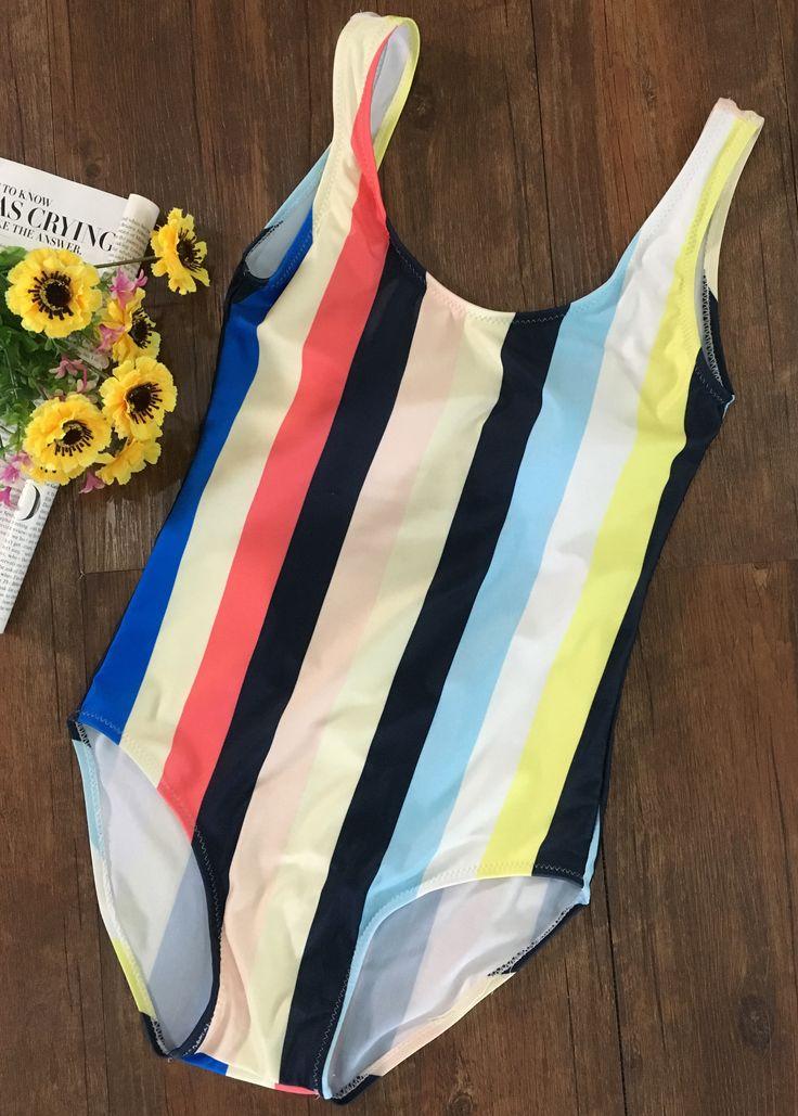Color Block Striped Scoop Neck One Piece Swimsuit