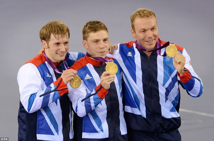 Glorious: Team GB -  Jason Kenny, Philip Hindes and Sir Chris Hoy with their gold medals in Team Sprint