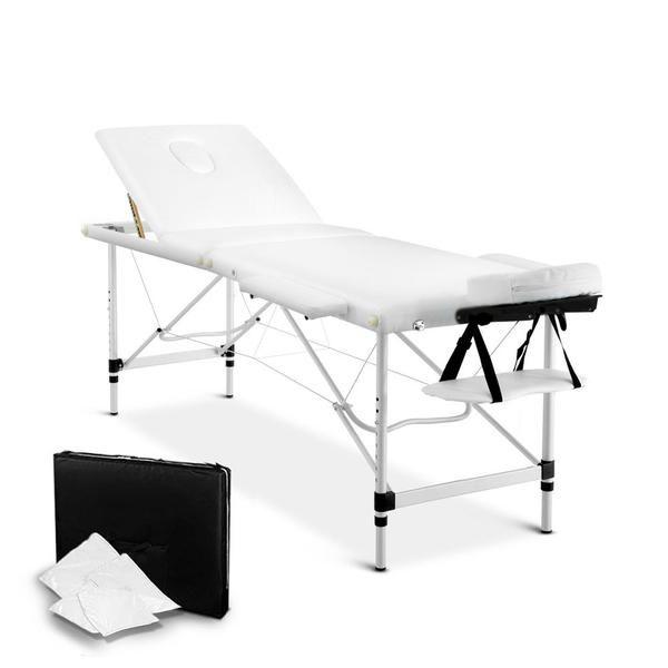 Portable Aluminium 3 Fold Massage Table Chair Bed White 60cm – Click Online Sales