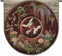 """Cloisonne Ruby Asian Tapestry Wall Hanging - Ethnic Motifs, H51"""" x W52"""""""