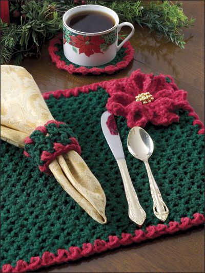 Poinsettia Presentation Crochet Pattern Download from e-PatternsCentral.com -- Set the table in warm and welcoming Christmas hues with rich gold bead accents for your holiday dining guests.