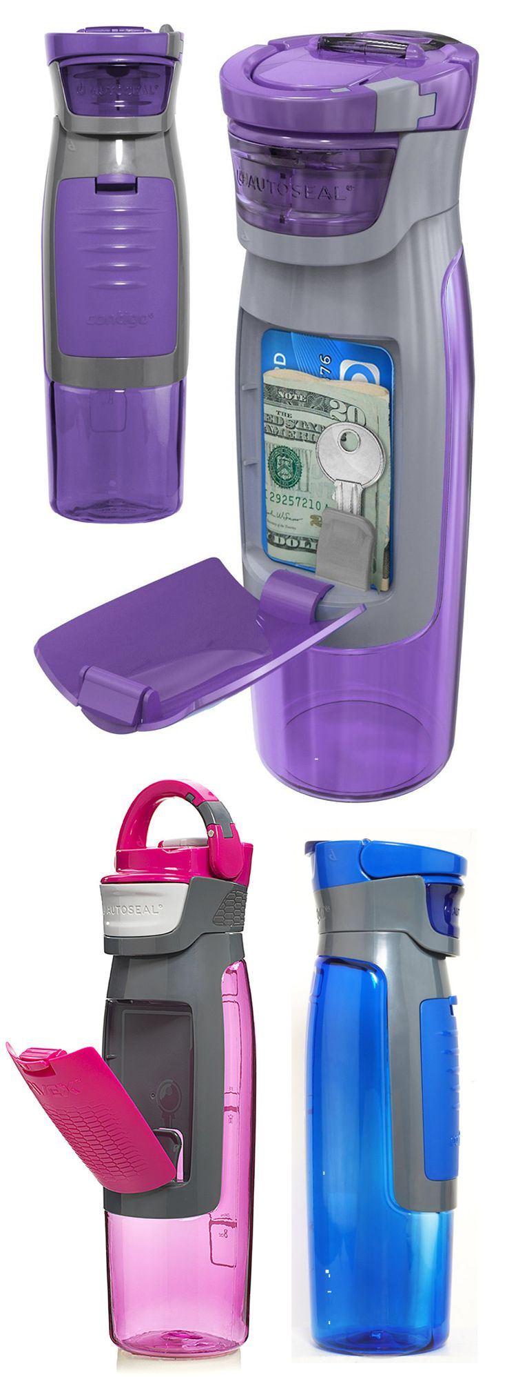 Kangaroo water bottle // has a storage compartment for keys, money etc. I NEED this! Perfect for working out, gym, yoga.