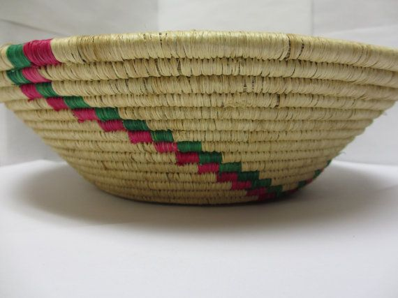 Pink and Green African Woven Bowl, Valentines Day Gift, Fruit Bowl, Fair Trade Bowl, Decorative Bowl, Traditional Bowl, Sweet Grass Bowl