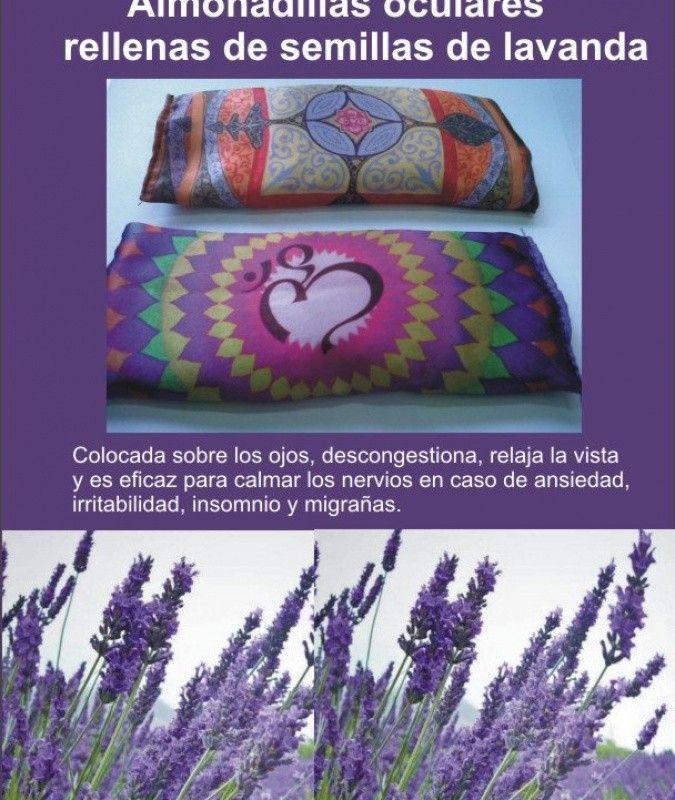 Almohadillas y antifaces que contienen semillas de lavanda orgnica. Relajan la vista y alivian el stress.br / El aroma de la lavanda favorece el descanso