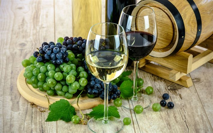 Download wallpapers white wine, glasses of wine, wooden barrel, red wine, grapes