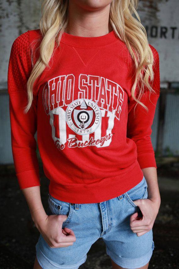 Vintage Ohio State Jersey Sleeve Sweatshirt by VintageVanShop, $15.00