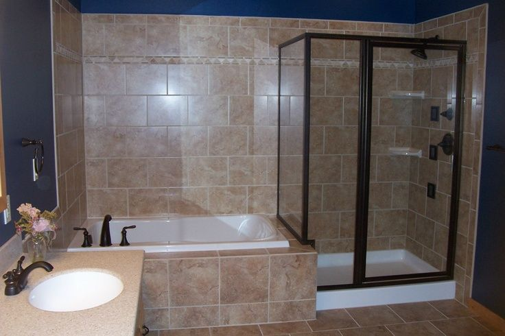 Bath And Shower Combo Ideas: Glass Shower/whirlpool Tub