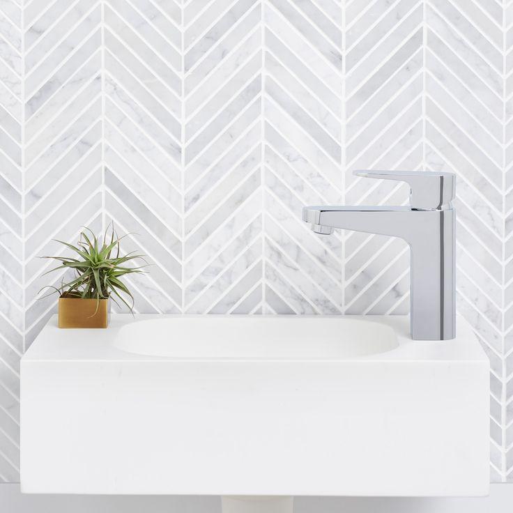 Caroma Sunstone Solid Surface 450 Hand Wall Basin #caroma #wallbasin #marble #tiles #modern #design #bathroom #inspiration #interiors #solidsurface