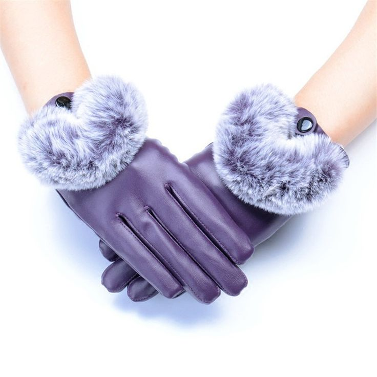 PU Leather Winter Waterproof Gloves with Imitation Rabbit Hair