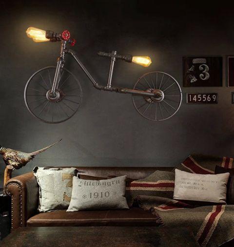 RUSTIC, VINTAGE, INDUSTRIAL, BICYCLE CEILING LIGHT.