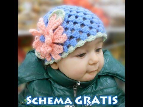 Schema per cappello all'uncinetto con fiore: il punto soffiato - La Torre di Cotone
