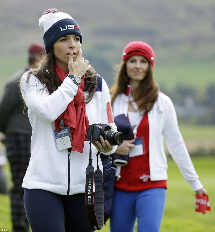 Annie Verret, partner of Jordan Spieth, looked patriotic in her daytime outfit while she w...