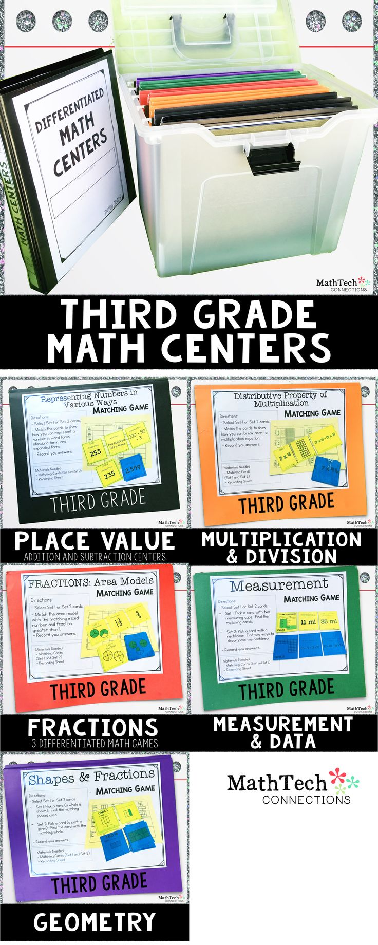 3rd Grade Math Centers for Math Workshop - These 14 differentiated math games are perfect to use during independent math centers. Each games has 2 sets of cards. Set 1 cards have been edited, so struggling students will succeed during math centers.