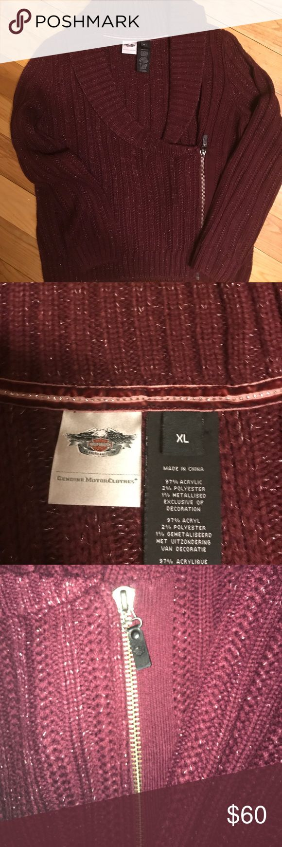 H-D HEAVY BEAUTIFUL MOTO ZIP SWEATER H-D BURGUNDY AND SILVER STRAND HEAVY MOTO ZIP SWEATER.. VERY VERY WARM ..NEVER WORN TRUE TO SIZE IF NOT RUNS ON BIG SIDE .. VERY SOFT AND STRETCHY ... BE IN STYLE ALL YEAR ROUND WITH YOUR HARLEY COLLECTION!! NO TRADES PRICE IS FIRM Harley-Davidson Sweaters