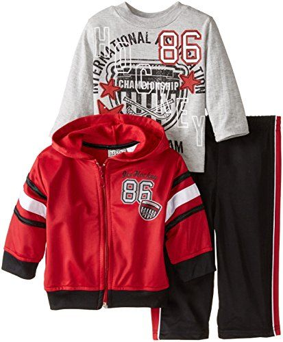 Little Rebels Baby Boys Three Piece Ice Hockey 86 Jacket Set Red Chili 24 Months *** Click image for more details.