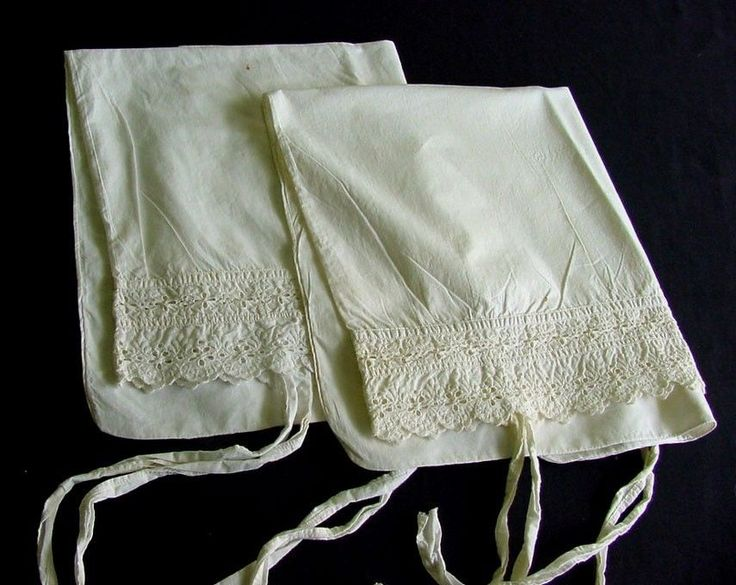 Pair of Antique Pillowcases with Broderie Anglais c,1910