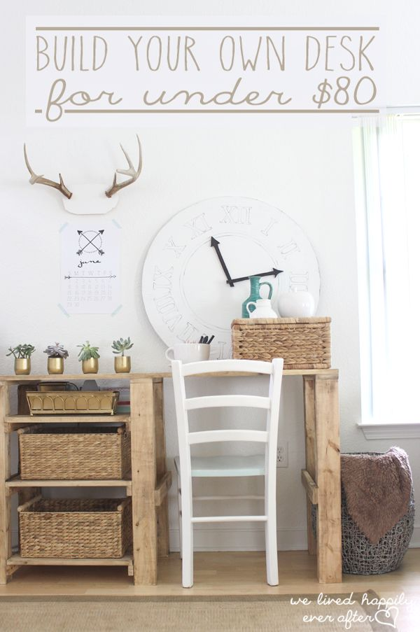 how to build your own desk for 80 she gives the full tutorial and plans swoon my. Black Bedroom Furniture Sets. Home Design Ideas